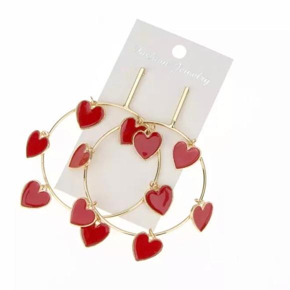 Gold & Red Dangling Hearts Drop Hoop Earrings
